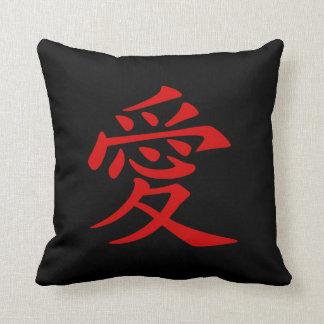 Rotes chinesisches Liebe-Symbol Kissen