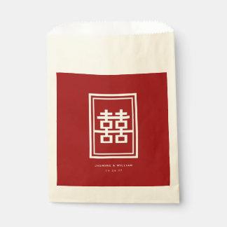 Rotes doppeltes Glück-chinesische Gastgeschenk Geschenktütchen