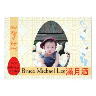 Rotes Ei-und Ingwer-einmonatiges Baby-Jungen-Party Karte