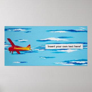 Rotes Fahnen-Flugzeug Poster