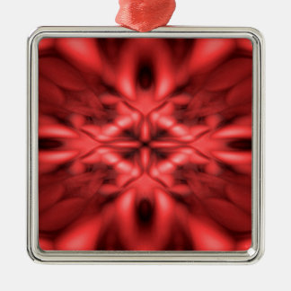 Rotes Fantasiemuster Quadratisches Silberfarbenes Ornament