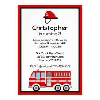 Rotes Feuer-Motor-und Hut-Geburtstags-Party Karte
