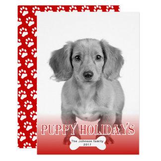 Rotes Foto Haustier des Welpenfeiertagsknochens 12,7 X 17,8 Cm Einladungskarte