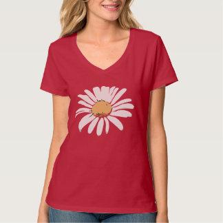 Rotes Gänseblümchen Blumenc$v-hals T - Shirt