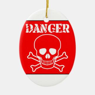 Rotes Gefahrenzeichen Keramik Ornament