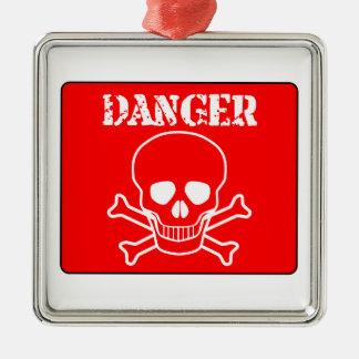 Rotes Gefahrenzeichen Silbernes Ornament