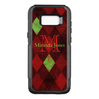 Rotes gelbes Diamant-Muster-Papier-Monogramm OtterBox Commuter Samsung Galaxy S8+ Hülle