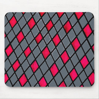 Rotes geometrisches Diamant-Muster mousepad
