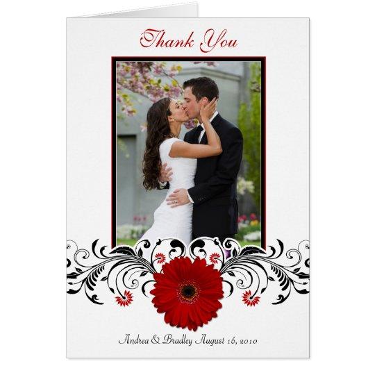 Rotes Gerbera-Gänseblümchen-danken Grußkarte