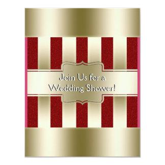 Rotes Glitter-Gold Stripes Polterabend des 10,8 X 14 Cm Einladungskarte