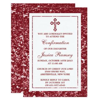 Rotes Glitter-Kreuz-heilige Kommunion oder 12,7 X 17,8 Cm Einladungskarte