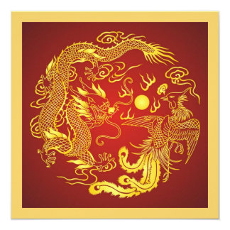 Rotes Goldchinesische Hochzeits-Einladung Quadratische 13,3 Cm Einladungskarte