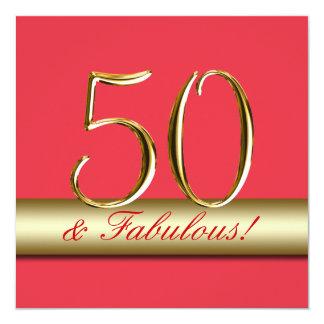 Rotes Goldeinfache 50. Geburtstags-Party Einladung