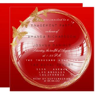 Rotes goldenes Blasen-Hochzeits-Verlobungs-Party Quadratische 13,3 Cm Einladungskarte