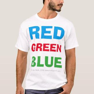 Rotes grün-blaues (weißes T-Stück) T-Shirt