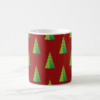 rotes Grün, Tupfen und Weihnachtsbäume Tasse