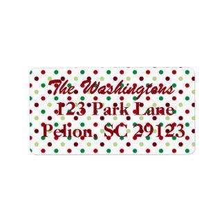 Rotes grünes u. weißes Tupfen-Weihnachten Adress Aufkleber