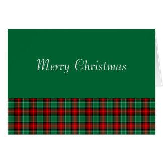 Rotes grünes Weihnachtskarierte kundenspezifische Karte