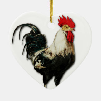 Rotes Hahn-Huhn fertigen besonders an Keramik Herz-Ornament