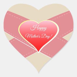 Rotes Herz, der glückliche Tag der Mutter! Herz-Aufkleber