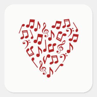 Rotes Herz der Musiknoten-Aufkleber - Quadrat Quadratischer Aufkleber