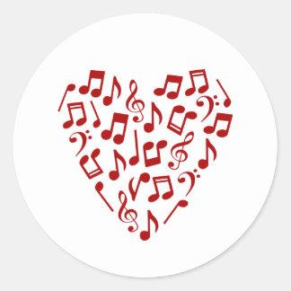 Rotes Herz der Musiknoten-Aufkleber - rund Runder Aufkleber