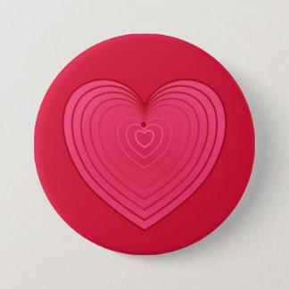 Rotes Herz der Rose auf einem tieferen roten Runder Button 7,6 Cm