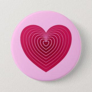 Rotes Herz der tiefen Rose auf einem blassen - Runder Button 7,6 Cm