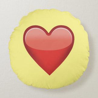 Rotes Herz Emoji rundes Wurfs-Kissen Rundes Kissen