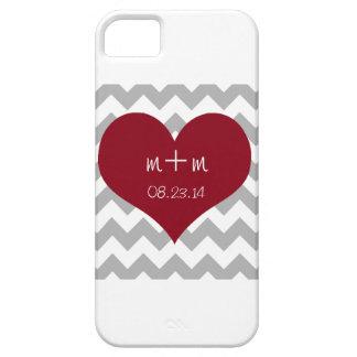 Rotes Herz-grauer Zickzack Telefon-Kasten Save the iPhone 5 Etuis