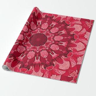 Rotes Herz-Kreis-Mandala-Packpapier Einpackpapier