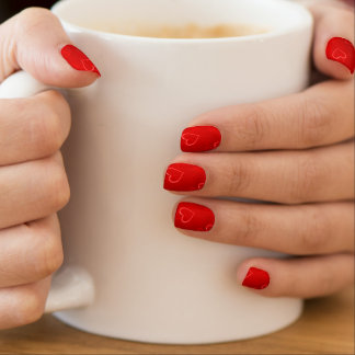Rotes Herz-Muster Minx Nagelkunst