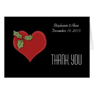 Rotes Herz u. grüne Stechpalmen-Hochzeit danken Karte