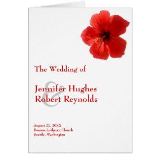 Rotes Hibiskus-Hochzeits-Programm Grußkarte