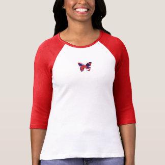 Rotes Hülsen-Gewohnheitst-stück des Weiß 3/4 T-Shirt