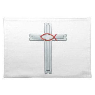 Rotes Ichthus Kreuz Stofftischset