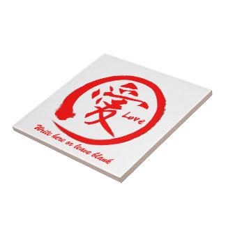 Rotes japanisches Kanjisymbol enso Kreises | für Fliese