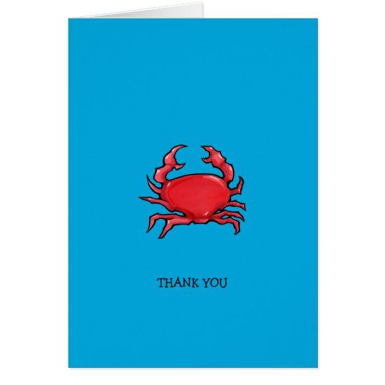 Rotes Krabbenblau dankt Ihnen Anmerkungs-Karte Karte