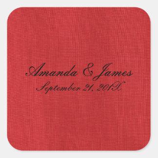 Rotes Leinenbeschaffenheits-Foto Quadratischer Aufkleber