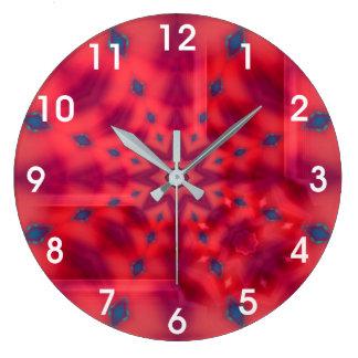 Rotes Mandala-Kaleidoskop Große Wanduhr