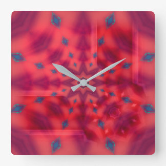 Rotes Mandala-Kaleidoskop Quadratische Wanduhr