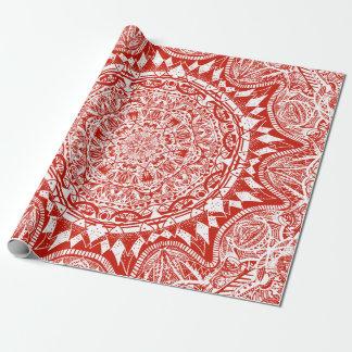 Rotes Mandalamuster Geschenkpapier