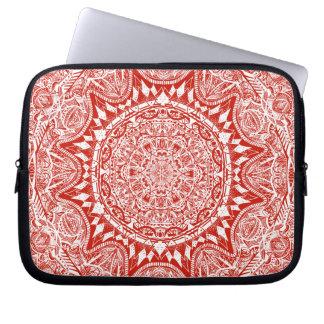 Rotes Mandalamuster Laptop Sleeve