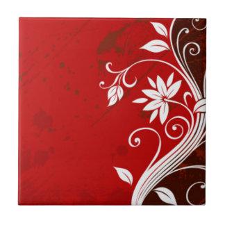 Rotes mit BlumenRetro Kleine Quadratische Fliese