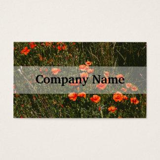 Rotes Mohnblumen-Feld, Wildblumen-Wiese, Natur Visitenkarte