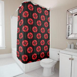 Rotes Mohnblumen-Muster auf schwarzem Duschvorhang