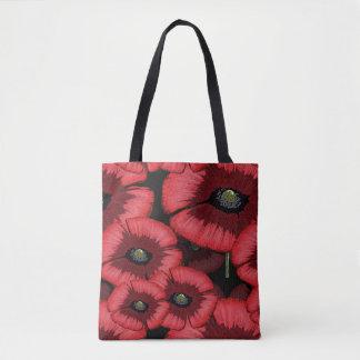 Rotes Mohnblumen-Muster ganz vorbei - drucken Sie Tasche