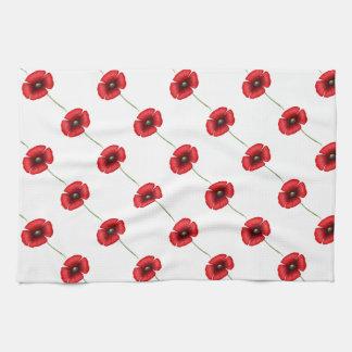 Rotes Mohnblumen-Muster-Geschirrtuch Geschirrtuch