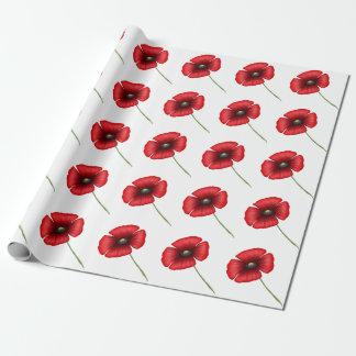 Rotes Mohnblumen-Packpapier Geschenkpapier