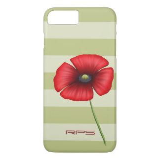 Rotes Mohnblumen-Streifen-Monogramm iPhone 7 Plus iPhone 7 Plus Hülle